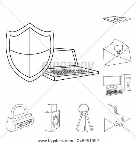 Hacker And Hacking Outline Icons In Set Collection For Design. Hacker And Equipment Vector Symbol St