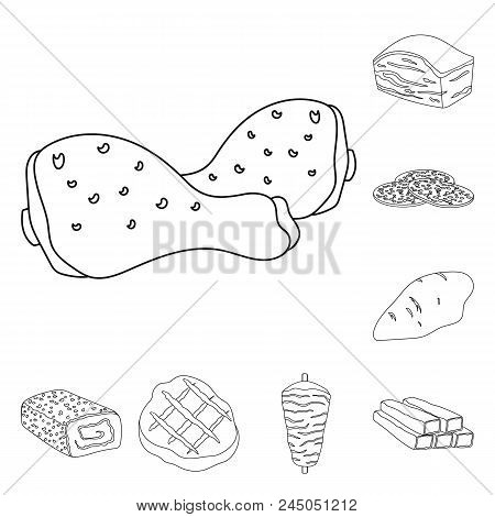Different Meat Outline Icons In Set Collection For Design. Meat Product Vector Symbol Stock  Illustr