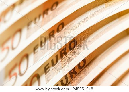 Close-up View Of Stack Of 50 Euro Bank Notes