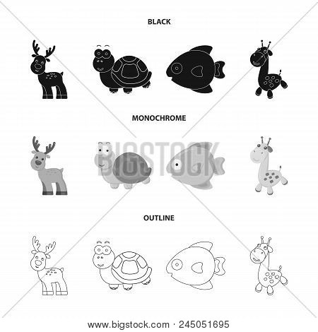 An Unrealistic Black, Monochrome, Outline Animal Icons In Set Collection For Design. Toy Animals Vec