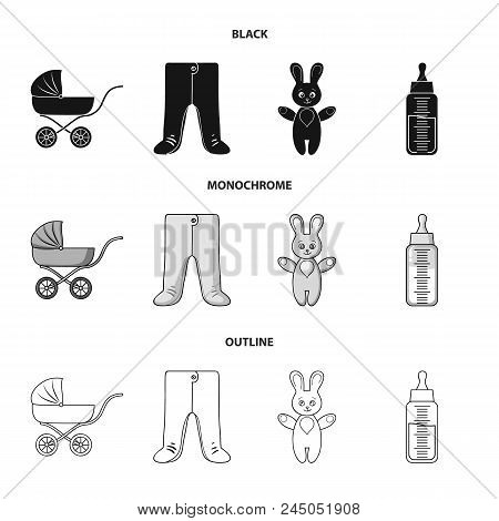 Stroller, Bottle With A Pacifier, Toy, Sliders.baby Born Set Collection Icons In Black, Monochrome,