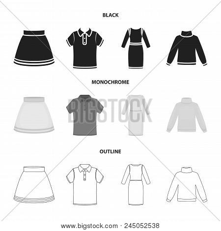 Skirt, T-shirt, Sweater, Dress With Long Sleeves.clothing Set Collection Icons In Black, Monochrome,