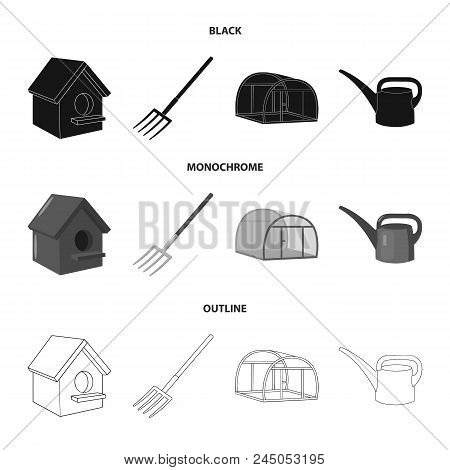 Poultry House, Pitchfork, Greenhouse, Watering Can.farm Set Collection Icons In Black, Monochrome, O