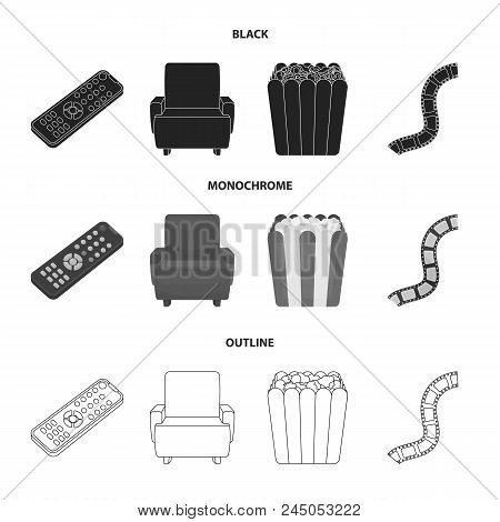 Control Panel, An Armchair For Viewing, Popcorn.films And Movies Set Collection Icons In Black, Mono