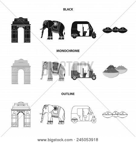 Country India Black, Monochrome, Outline Icons In Set Collection For Design.india And Landmark Vecto