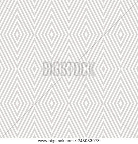 Vector Geometric Seamless Pattern With Rhombuses, Stripes, Diagonal Lines, Chevron. Subtle Abstract