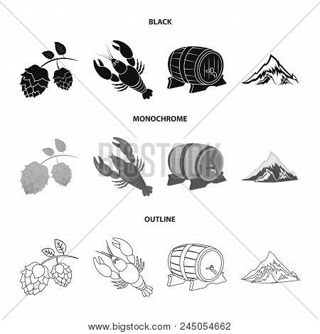 Alps, A Barrel Of Beer, Lobster, Hops. Oktoberfest Set Collection Icons In Black, Monochrome, Outlin