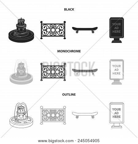 Fountain, Fence, Skate, Billboard.park Set Collection Icons In Black, Monochrome, Outline Style Vect