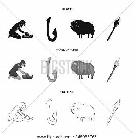 Cattle, Catch, Hook, Fishing .stone Age Set Collection Icons In Black, Monochrome, Outline Style Vec