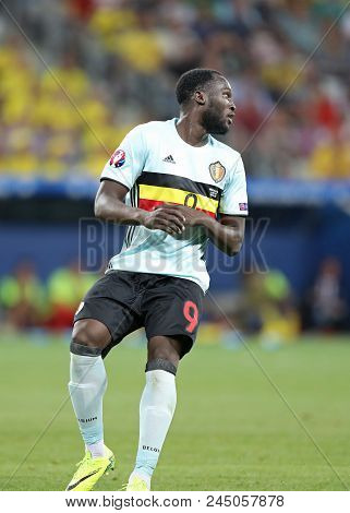 Nice, France - June 22, 2016: Romelu Lukaku Of Belgium In Action During The Uefa Euro 2016 Game Agai