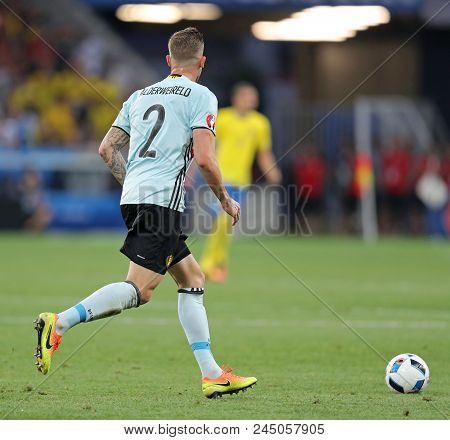 Nice, France - June 22, 2016: Toby Alderweireld Of Belgium Controls A Ball During The Uefa Euro 2016