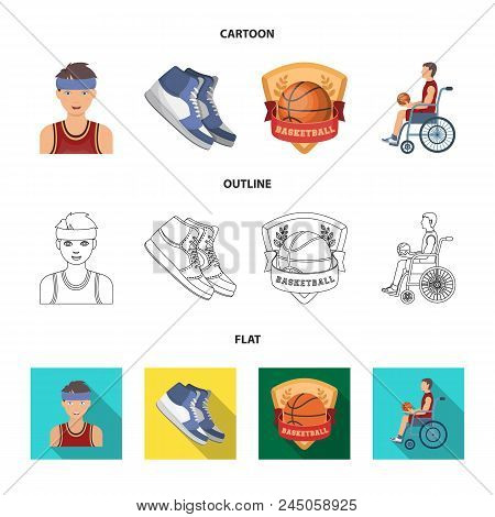 Basketball And Attributes Cartoon, Outline, Flat Icons In Set Collection For Design.basketball Playe