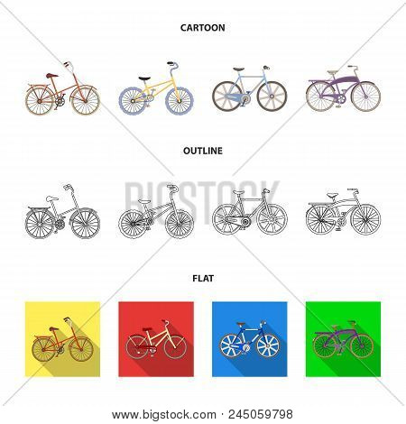 Children's Bicycle And Other Kinds.different Bicycles Set Collection Icons In Cartoon,outline,flat S