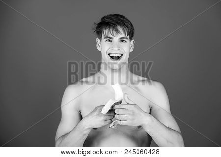 Fitness Food. Dieting And Fitness, Happy Man, Athlete Or Macho With Blond Hair, Stylish Haircut And