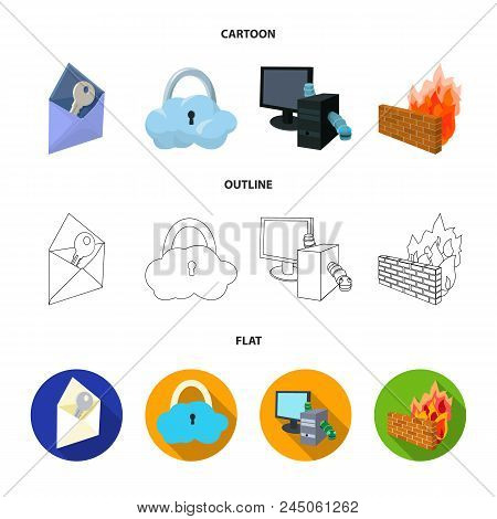 System, Internet, Connection, Code .hackers And Hacking Set Collection Icons In Cartoon, Outline, Fl