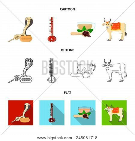 Country India Cartoon, Outline, Flat Icons In Set Collection For Design.india And Landmark Vector Sy