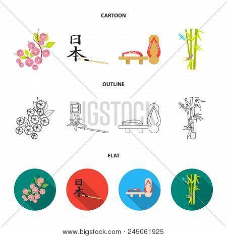 Geta, Sakura Flowers, Bamboo, Hieroglyph.japan Set Collection Icons In Cartoon, Outline, Flat Style