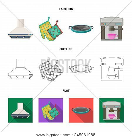Kitchen Equipment Cartoon, Outline, Flat Icons In Set Collection For Design. Kitchen And Accessories