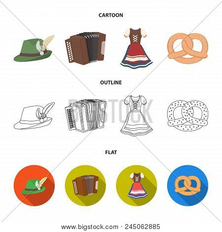 Tyrolean Hat, Accordion, Dress, Pretzel. Oktoberfestset Collection Icons In Cartoon, Outline, Flat S