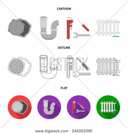 Sewage Hatch, Tool, Radiator.plumbing Set Collection Icons In Cartoon, Outline, Flat Style Vector Sy