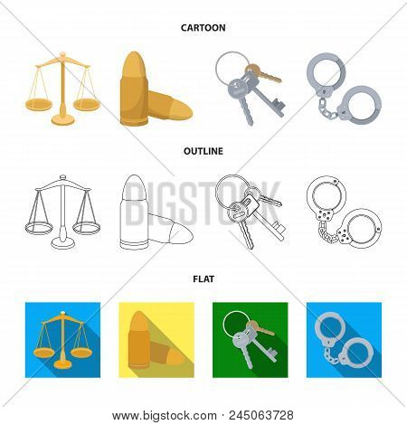 Scales Of Justice, Cartridges, A Bunch Of Keys, Handcuffs.prison Set Collection Icons In Cartoon, Ou