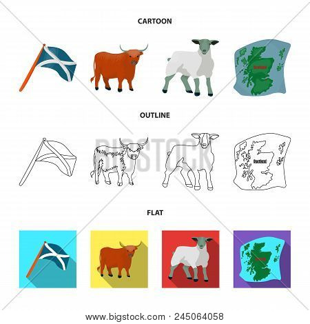 The State Flag Of Andreev, Scotland, The Bull, The Sheep, The Map Of Scotland. Scotland Set Collecti