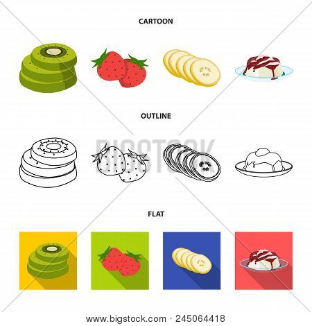 Fruits And Other Food. Food Set Collection Icons In Cartoon, Outline, Flat Style Vector Symbol Stock