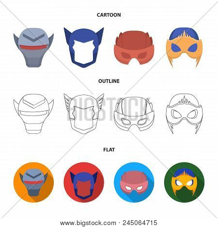 Helmet, Mask On The Head.mask Super Hero Set Collection Icons In Cartoon, Outline, Flat Style Vector