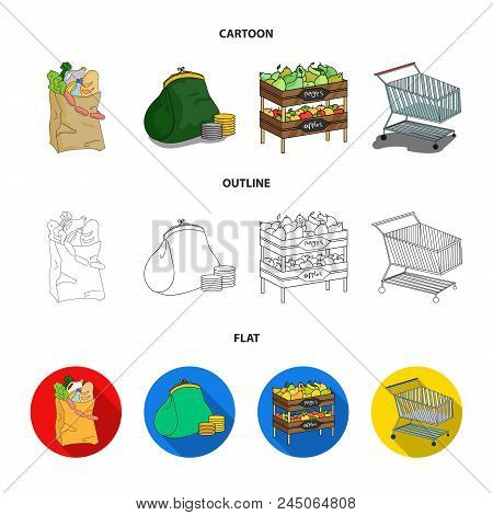Sausages, Fruit, Cart .supermarket Set Collection Icons In Cartoon, Outline, Flat Style Vector Symbo