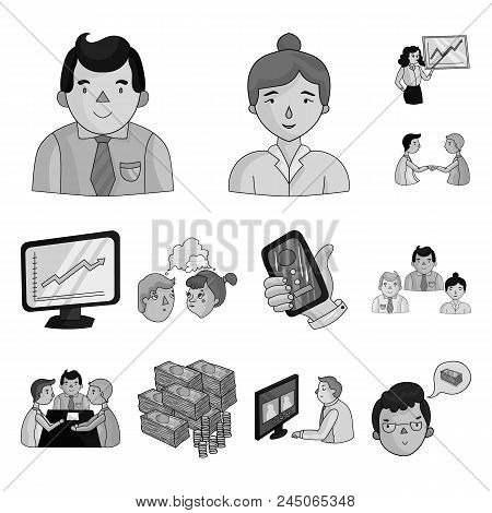 Business Conference And Negotiations Monochrome Icons In Set Collection For Design.business And Trai