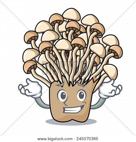 Grinning Enoki Mushroom Character Cartoon Vector Illustration