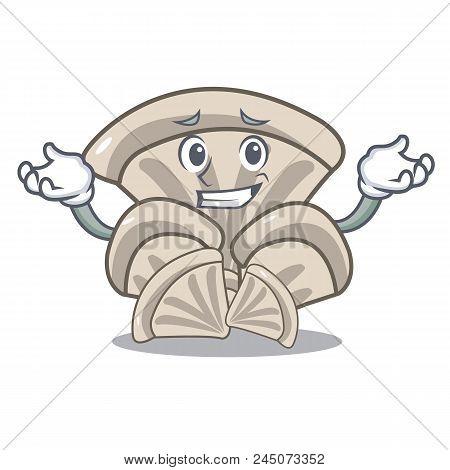 Grinning Oyster Mushroom Character Cartoon Vector Illustration