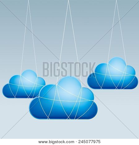 Cloud Computing And Networking Design Concept, The Cloud Symbol Hangs In Mid-air.