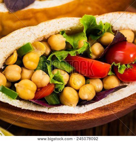 Mediterranean Grilled Chicken Salad With Garbanzo Bean. Selective Focus.