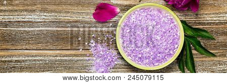 Purple Peony Bath Salt Blend For Spa And Aromatherapy Background. Selective Focus.