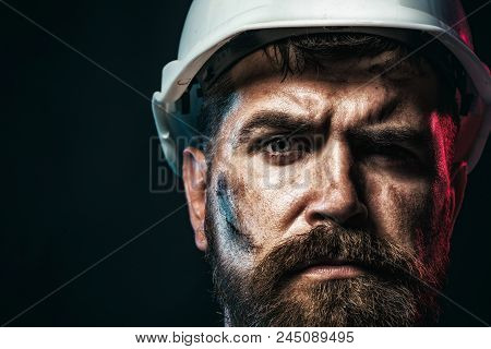 Construction Worker In Hard Hat. Business, Building Concept - Smiling Builder In Hard Hat. Portrait