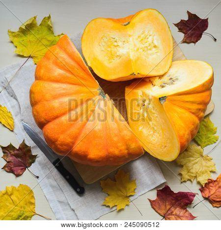 Composition Of Fresh Orange Pumpkin Harvest For Thanksgiving Day, Stock Photo Image
