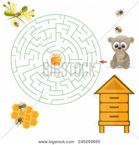Round Maze Riddle Game, Find Way Your Path. Bear Help Find Path To Honey. Labyrinth Rebus For Kids V