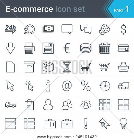 Modern, Simple And Thin E-commerce Stroked Icon Set Isolated On White Background