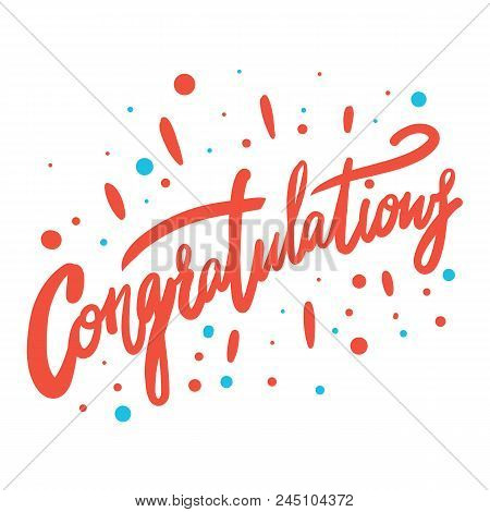 Congratulation Hand Written Lettering For Congratulations Card, Greeting Card, Invitation, Poster An