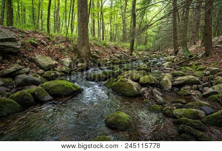 Waterfall Rapids With Water Frozen In Time Splashing Against Mossy Rocks