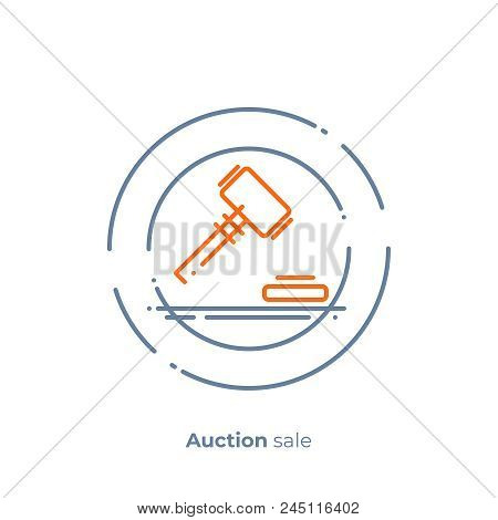 Finance Auction Line Art Icon, Business Case Judgement Vector Art, Outline Digital Bargain Illustrat