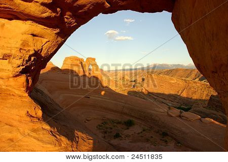 Looking through to the Delicate Arch, Utah.