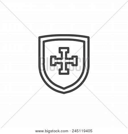 Shield Cross Outline Vector Photo Free Trial Bigstock