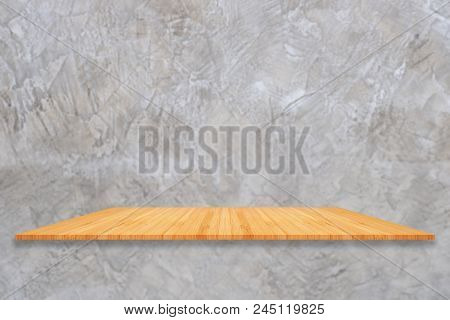 Perspective Empty Wooden Counter Old Grey Concrete Wall Texture Background. For Product Display Mont