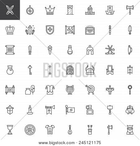 Medieval Elements Outline Icons Set. Linear Style Symbols Collection, Line Signs Pack. Vector Graphi