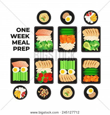 Vector Illustration Of Meal Preparation. Portion Of Food In Container And Snacks. Healthy Lifestyle