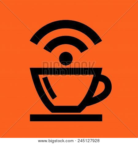 Coffee Cup Wireless Network Icon. Vector Flat Image. Icon Of Coffee And Wi-fi, Internet. Modern Ui E