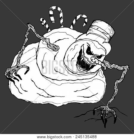 Angry Snowman. Vector Illustration Of A Terrible, Angry Snowman. Hand Drawn Evil Snowman.