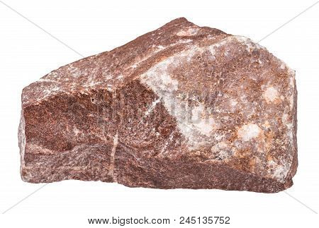 Macro Shooting Of Natural Mineral - Amethyst Mineralization On Rock Isolated On White Backgroung Fro